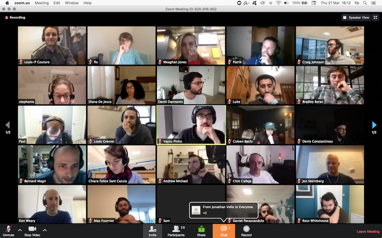 screenshot of a Hotjar team video meeting