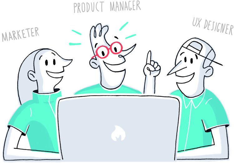 graphic representing 3 team members - marketer, UX designer, and product manager