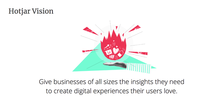 Hotjar's vision: to give businesses of all sizes the insights they need to create digital experiences their users love.