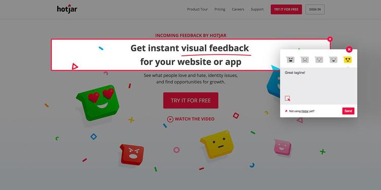 hotjar incoming feedback tool