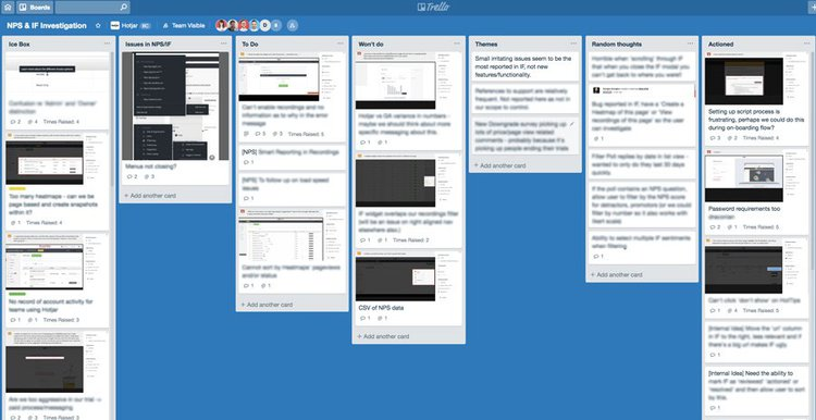 screenshot of a Hotjar trello board