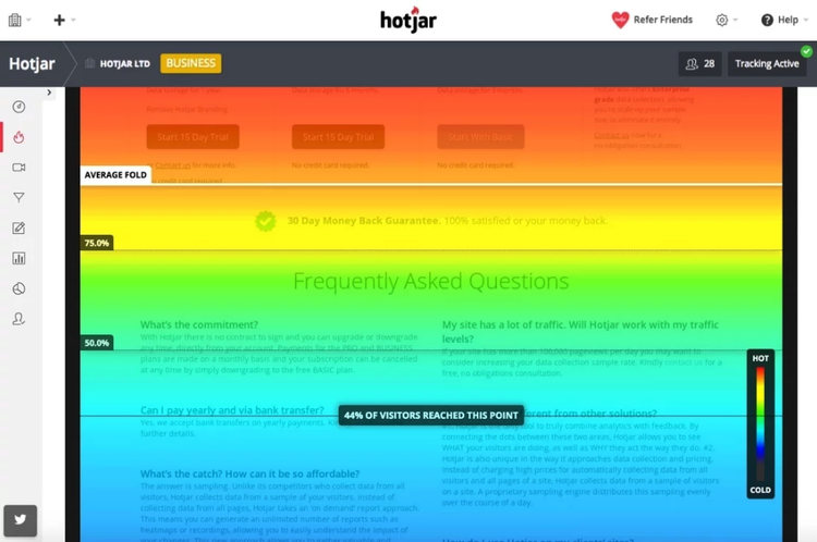 hotjar scroll heatmap