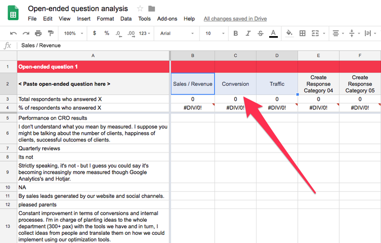 Use Hotjar's open-ended question analysis spreadsheet template to organize data from surveys