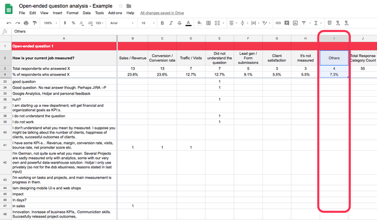 Use Hotjar's open-ended question analysis spreadsheet template to organizing data