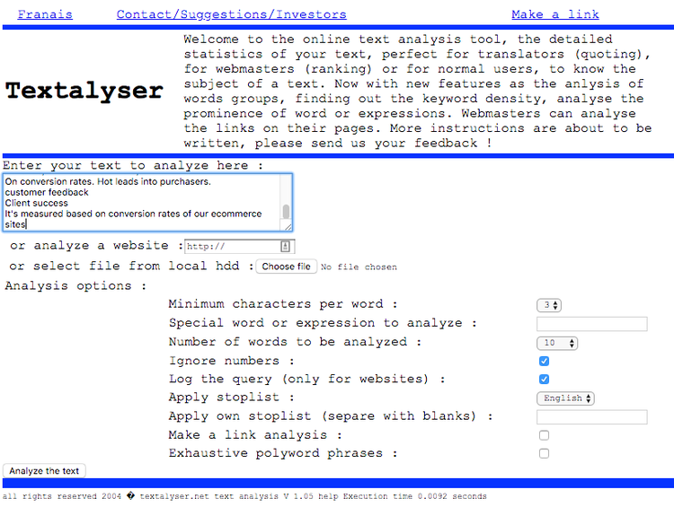 screenshot of Textalyser's home page