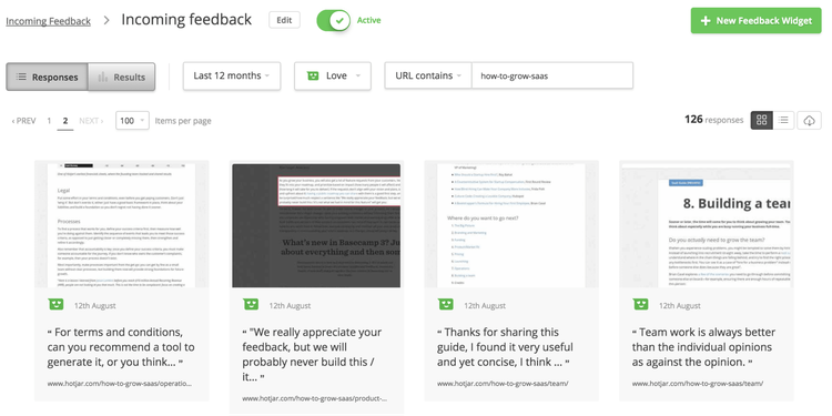 example of positive feedback Hotjar received