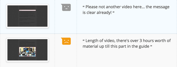 example of negative feedback Hotjar received specifically about video content