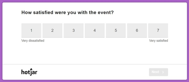 likert scale post event question