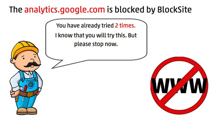 screenshot of the BlockSite message when trying to access a blocked site