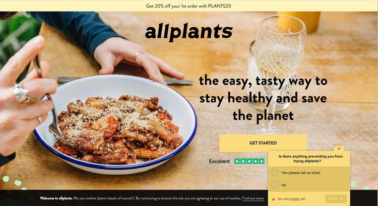 Screenshot of Allplants homepage with recording results