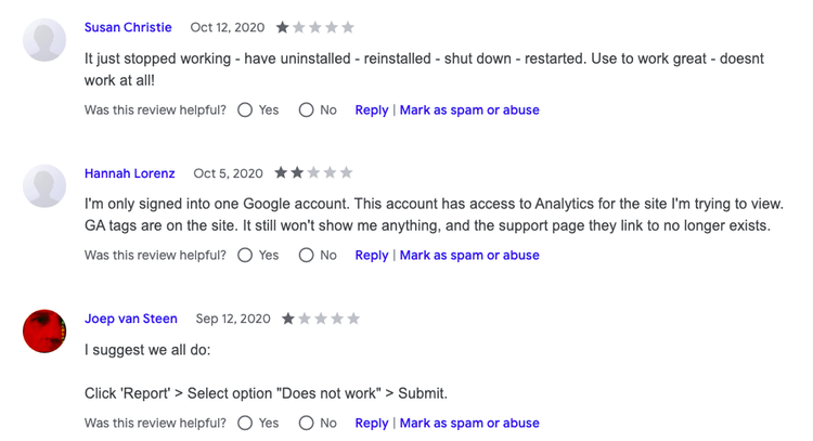 page analytics by google reviews