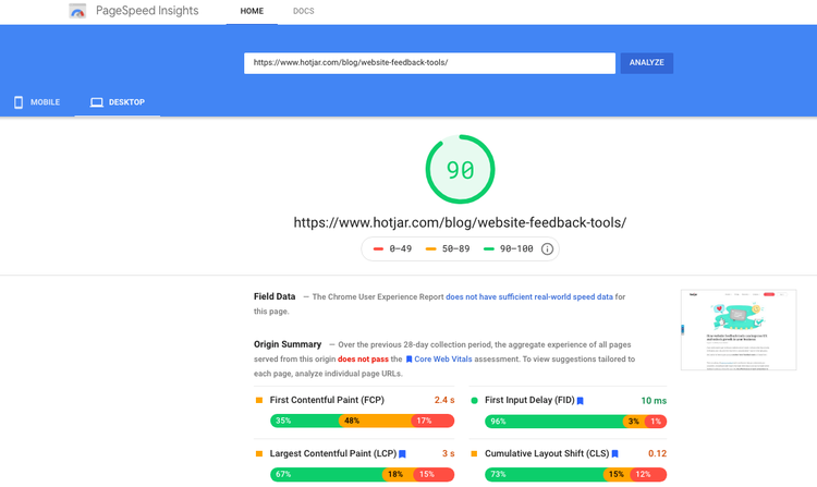 pagespeed insights free website speed optimization tool