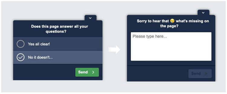 screenshot of an onpage survey poll flow