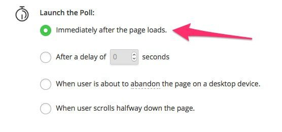 poll launch after page load