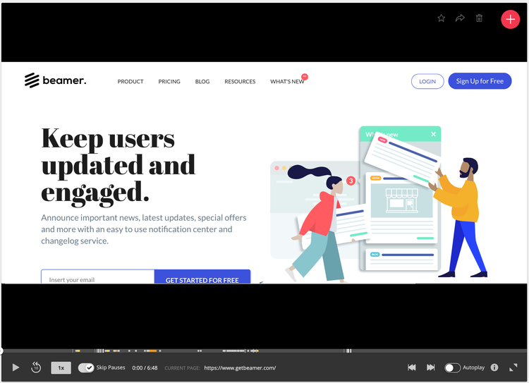 recording beamer homepage
