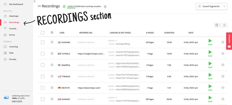 screenshot of a hotjar session recordings dashboard