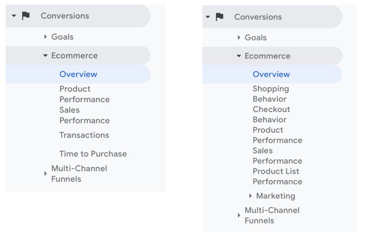 Side by side comparison of standard ecommerce vs enhanced ecommerce in Google Analytics