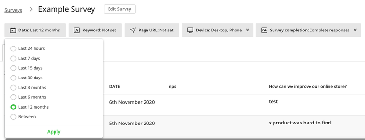 survey responses filter by date