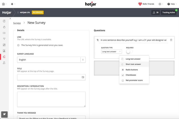 Our survey editor tool makes it simple to build your own surveys and see the results in an easy to read dashboard