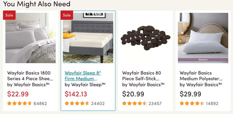 wayfair uses cross selling techniques on its website to increase sales