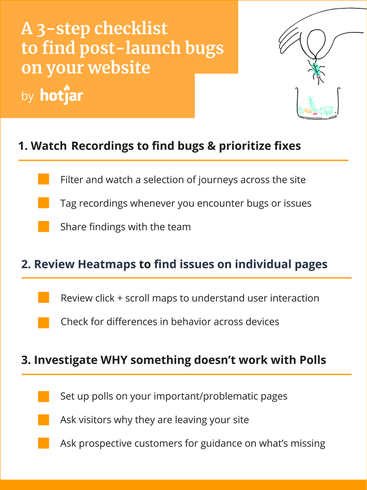 a 3 step checklist to find bugs on your website after a launch