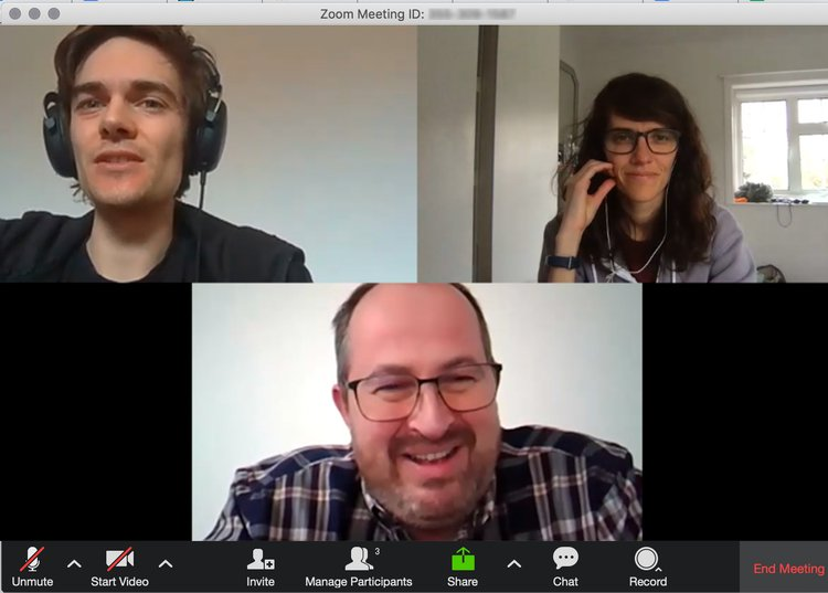 Fio, Joey, and Karl on  a zoom call