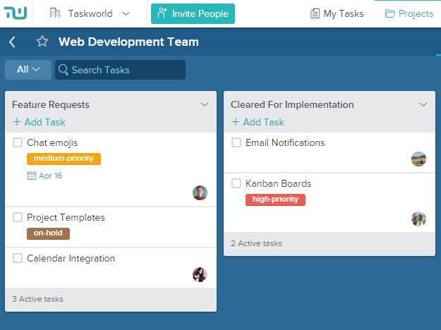 Taskworld Screenshot of Team